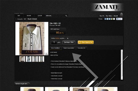 web site - e-ticaret ürünler detay