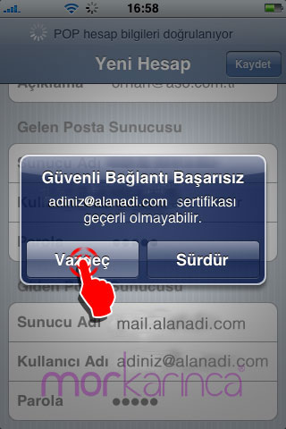 iphone ve ipad mail ayarları